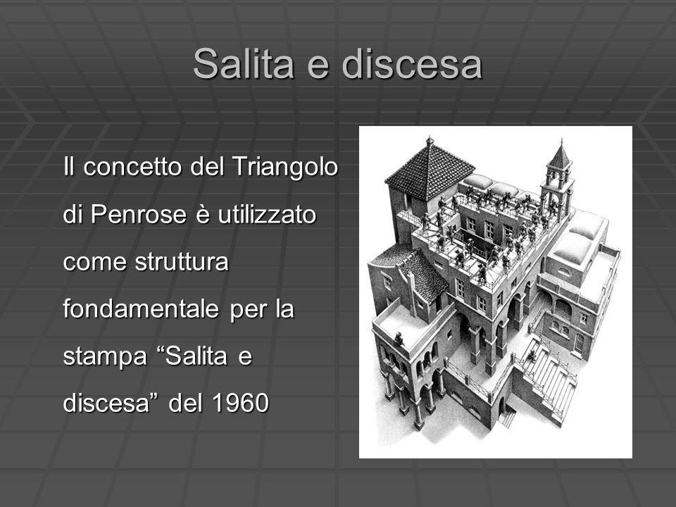 Salita e discesa Il concetto del Triangolo di Penrose è utilizzato come struttura fondamentale per la stampa Salita e discesa del 1960