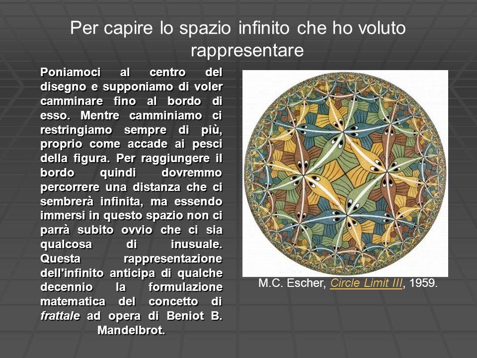 Per capire lo spazio infinito che ho voluto rappresentare M.C. Escher, Circle Limit III, 1959.Circle Limit III Poniamoci al centro del disegno e suppo