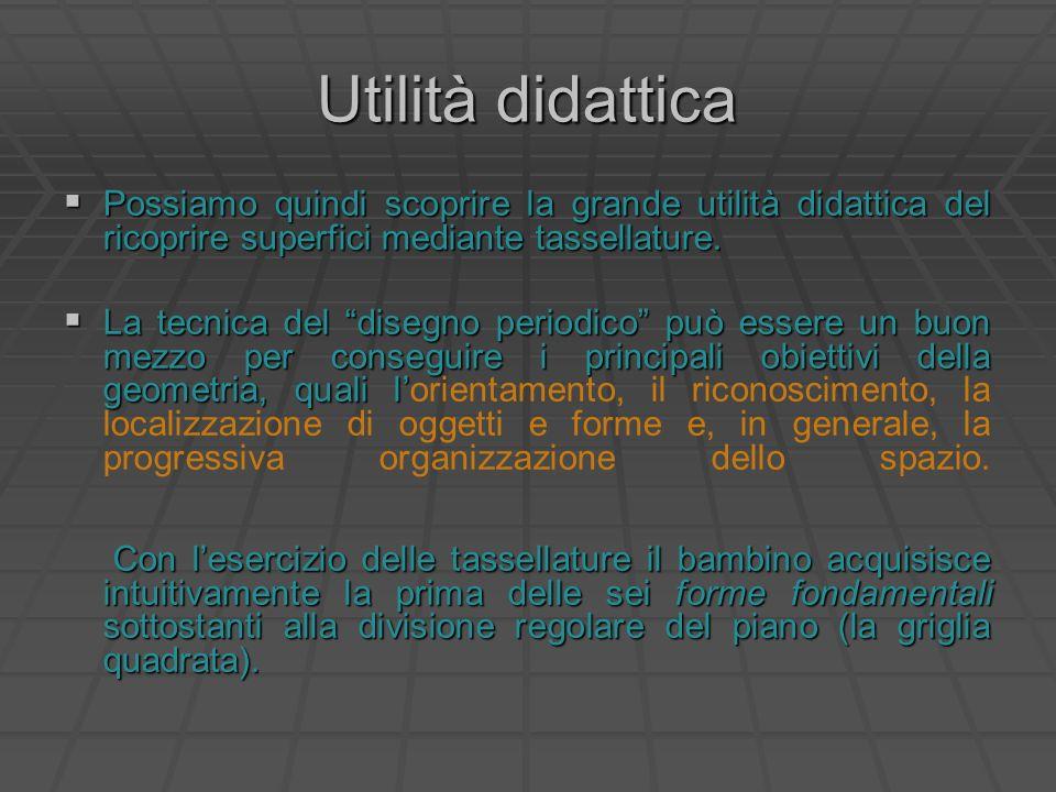 Utilità didattica Possiamo quindi scoprire la grande utilità didattica del ricoprire superfici mediante tassellature. Possiamo quindi scoprire la gran