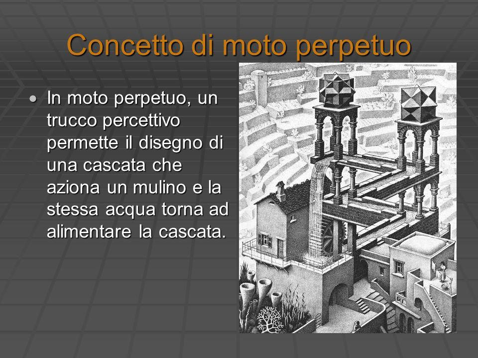 Concetto di moto perpetuo In moto perpetuo, un trucco percettivo permette il disegno di una cascata che aziona un mulino e la stessa acqua torna ad al
