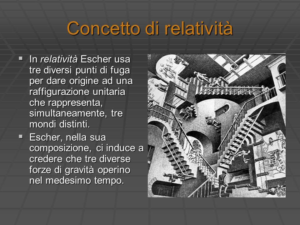 Concetto di relatività In relatività Escher usa tre diversi punti di fuga per dare origine ad una raffigurazione unitaria che rappresenta, simultaneam
