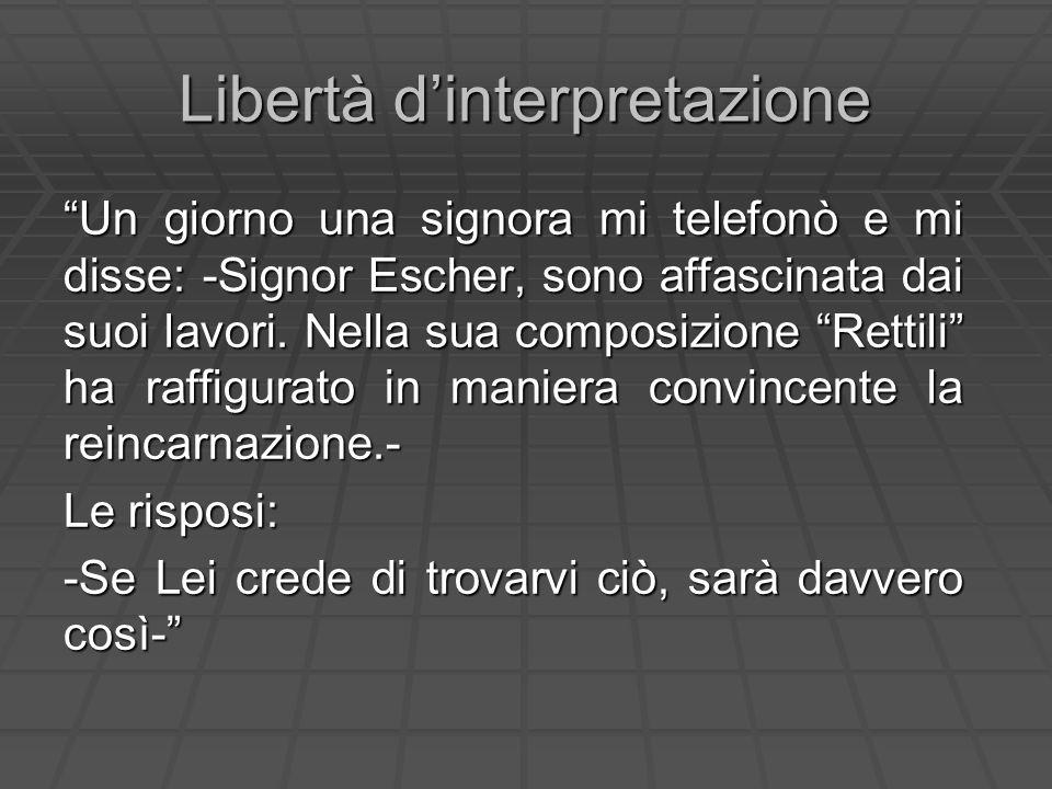 Libertà dinterpretazione Un giorno una signora mi telefonò e mi disse: -Signor Escher, sono affascinata dai suoi lavori. Nella sua composizione Rettil
