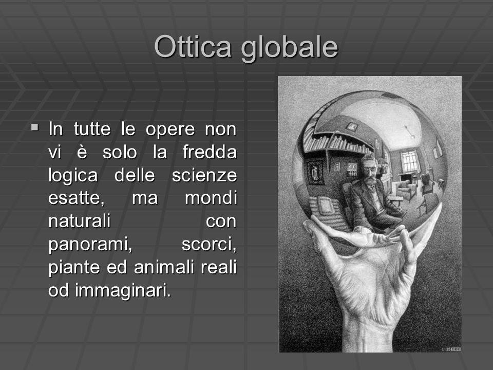 Ottica globale In tutte le opere non vi è solo la fredda logica delle scienze esatte, ma mondi naturali con panorami, scorci, piante ed animali reali