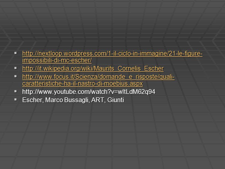 http://nextloop.wordpress.com/1-il-ciclo-in-immagine/21-le-figure- impossibili-di-mc-escher/ http://nextloop.wordpress.com/1-il-ciclo-in-immagine/21-l