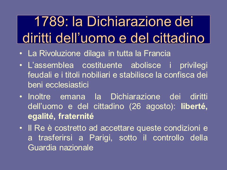 1789: la Dichiarazione dei diritti delluomo e del cittadino La Rivoluzione dilaga in tutta la Francia Lassemblea costituente abolisce i privilegi feud