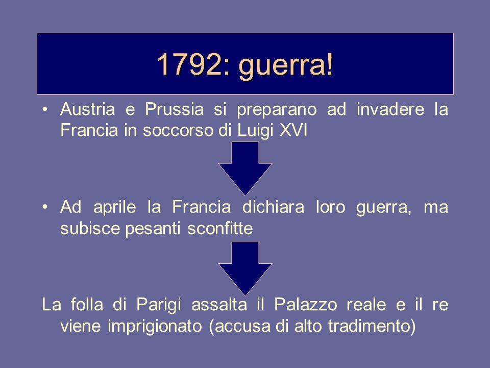 1792: guerra! Austria e Prussia si preparano ad invadere la Francia in soccorso di Luigi XVI Ad aprile la Francia dichiara loro guerra, ma subisce pes