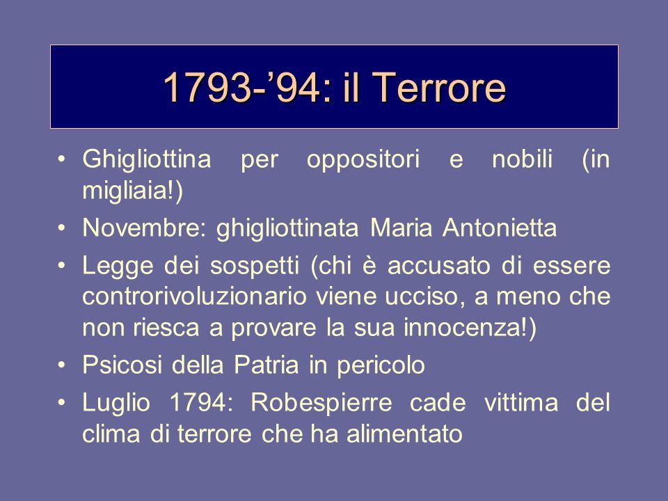 1793-94: il Terrore Ghigliottina per oppositori e nobili (in migliaia!) Novembre: ghigliottinata Maria Antonietta Legge dei sospetti (chi è accusato d