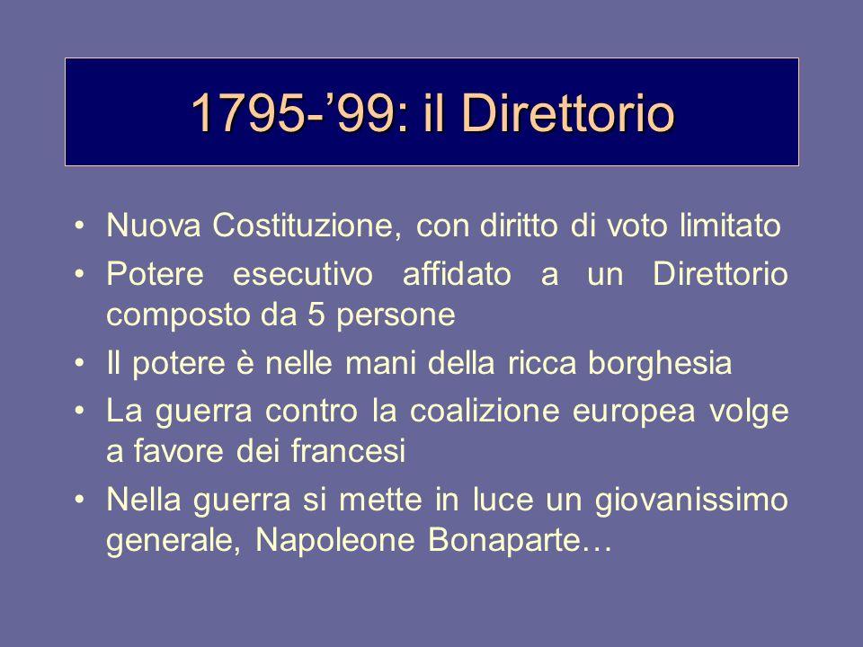 1795-99: il Direttorio Nuova Costituzione, con diritto di voto limitato Potere esecutivo affidato a un Direttorio composto da 5 persone Il potere è ne