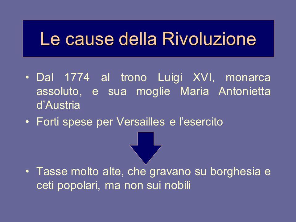 Le cause della Rivoluzione Dal 1774 al trono Luigi XVI, monarca assoluto, e sua moglie Maria Antonietta dAustria Forti spese per Versailles e lesercit