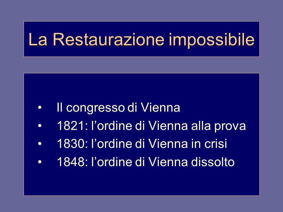 La Restaurazione impossibile Il congresso di Vienna 1821: lordine di Vienna alla prova 1830: lordine di Vienna in crisi 1848: lordine di Vienna dissol
