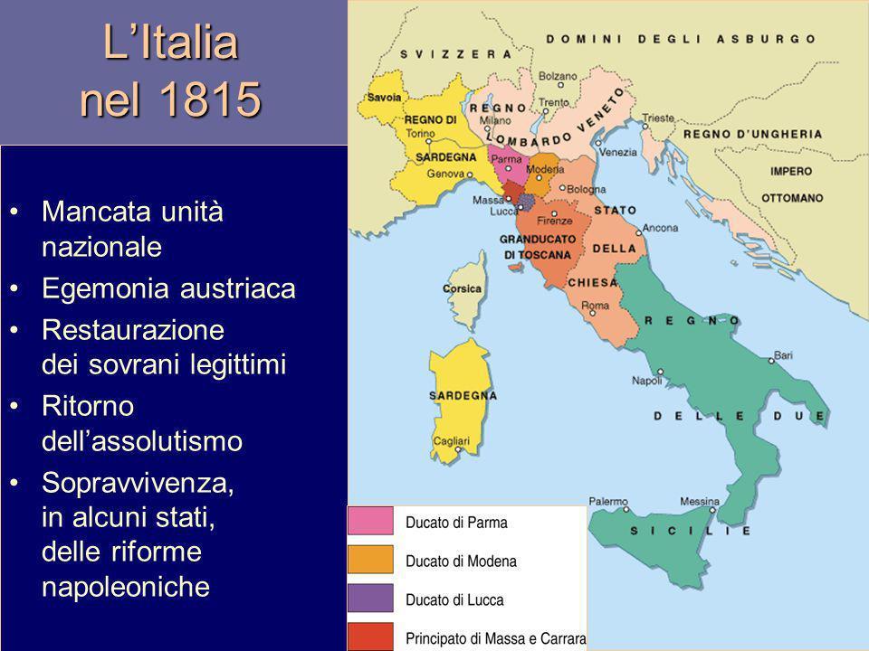 LItalia nel 1815 Mancata unità nazionale Egemonia austriaca Restaurazione dei sovrani legittimi Ritorno dellassolutismo Sopravvivenza, in alcuni stati