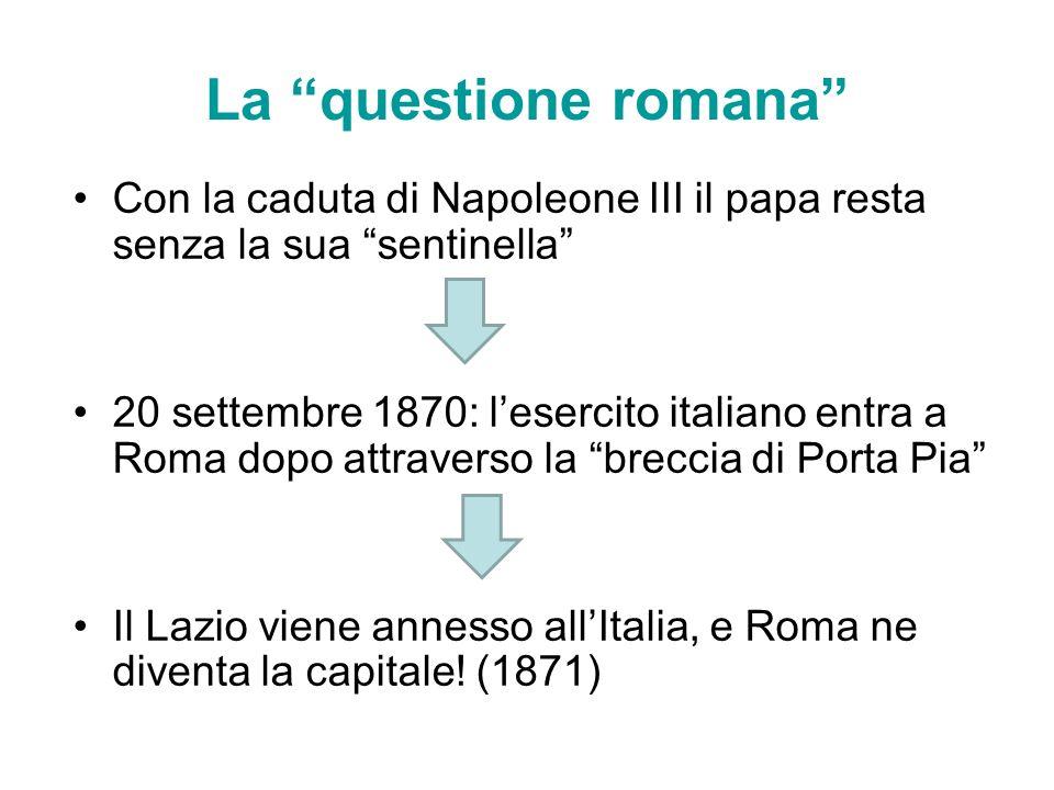 La questione romana Con la caduta di Napoleone III il papa resta senza la sua sentinella 20 settembre 1870: lesercito italiano entra a Roma dopo attra