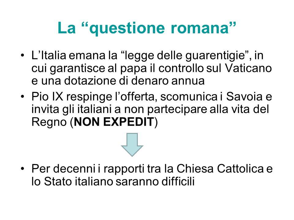 LItalia emana la legge delle guarentigie, in cui garantisce al papa il controllo sul Vaticano e una dotazione di denaro annua Pio IX respinge lofferta