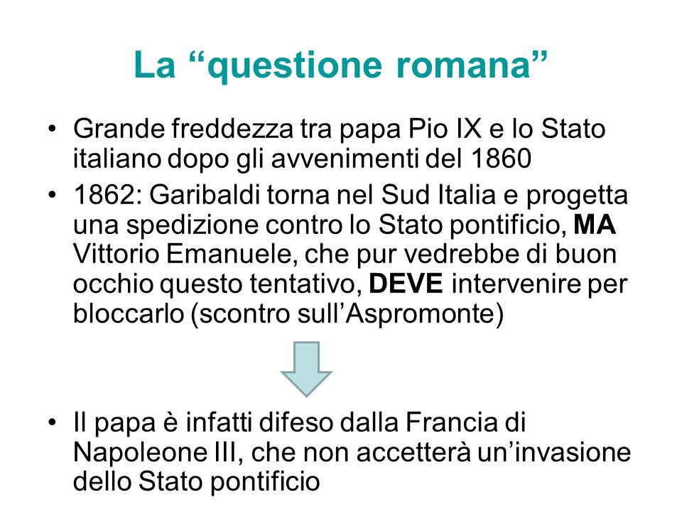 La questione romana Grande freddezza tra papa Pio IX e lo Stato italiano dopo gli avvenimenti del 1860 1862: Garibaldi torna nel Sud Italia e progetta