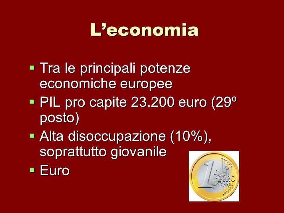 Leconomia Tra le principali potenze economiche europee Tra le principali potenze economiche europee PIL pro capite 23.200 euro (29º posto) PIL pro cap