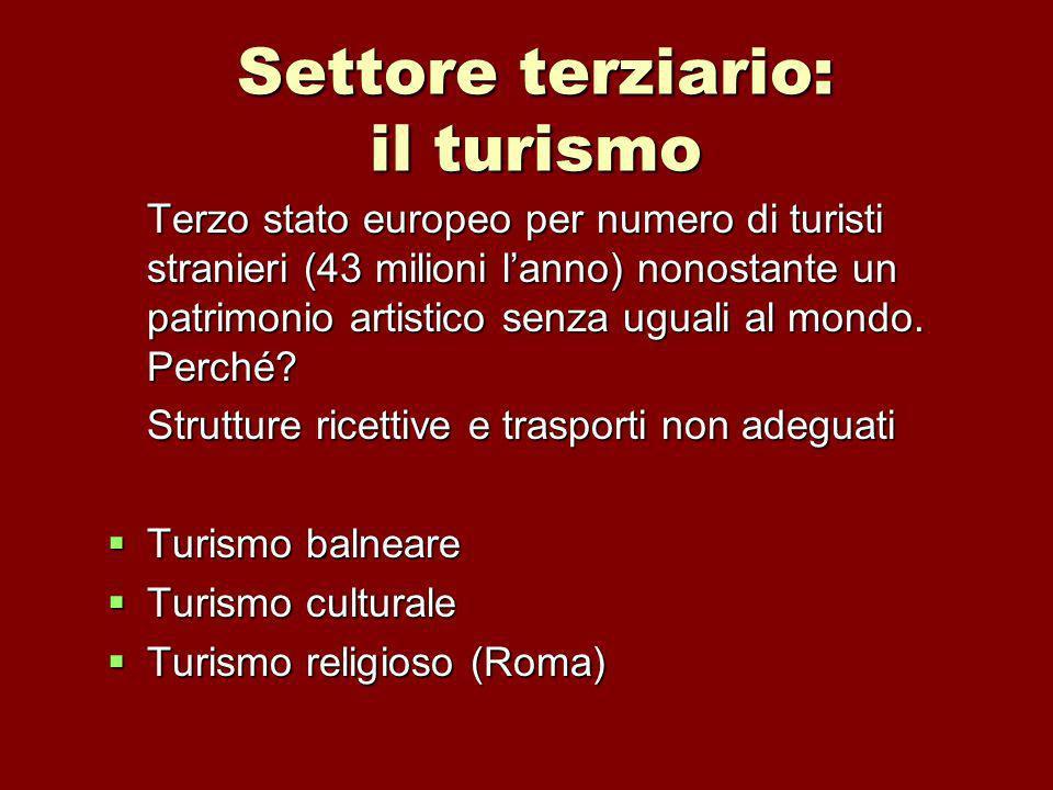 Settore terziario: il turismo Terzo stato europeo per numero di turisti stranieri (43 milioni lanno) nonostante un patrimonio artistico senza uguali al mondo.