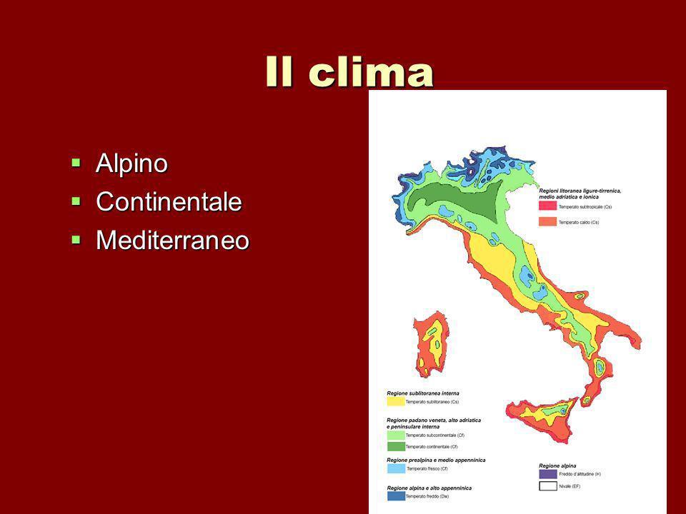 Il clima Alpino Alpino Continentale Continentale Mediterraneo Mediterraneo