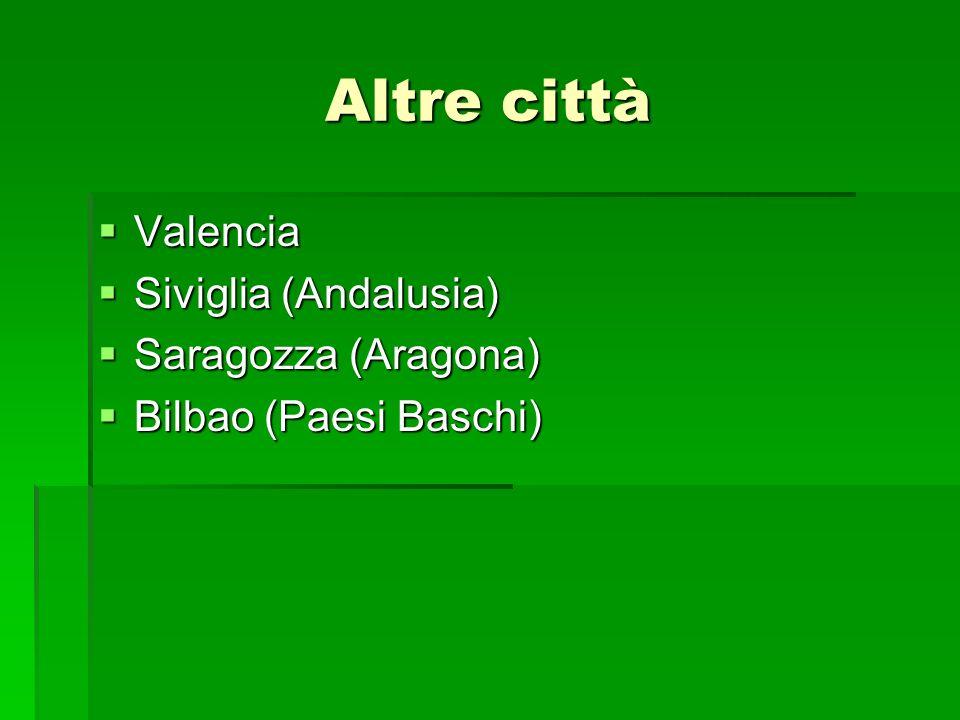 Altre città Valencia Valencia Siviglia (Andalusia) Siviglia (Andalusia) Saragozza (Aragona) Saragozza (Aragona) Bilbao (Paesi Baschi) Bilbao (Paesi Ba