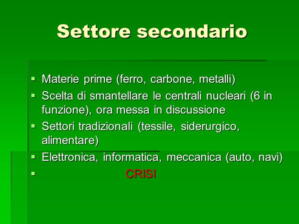 Settore secondario Materie prime (ferro, carbone, metalli) Materie prime (ferro, carbone, metalli) Scelta di smantellare le centrali nucleari (6 in fu