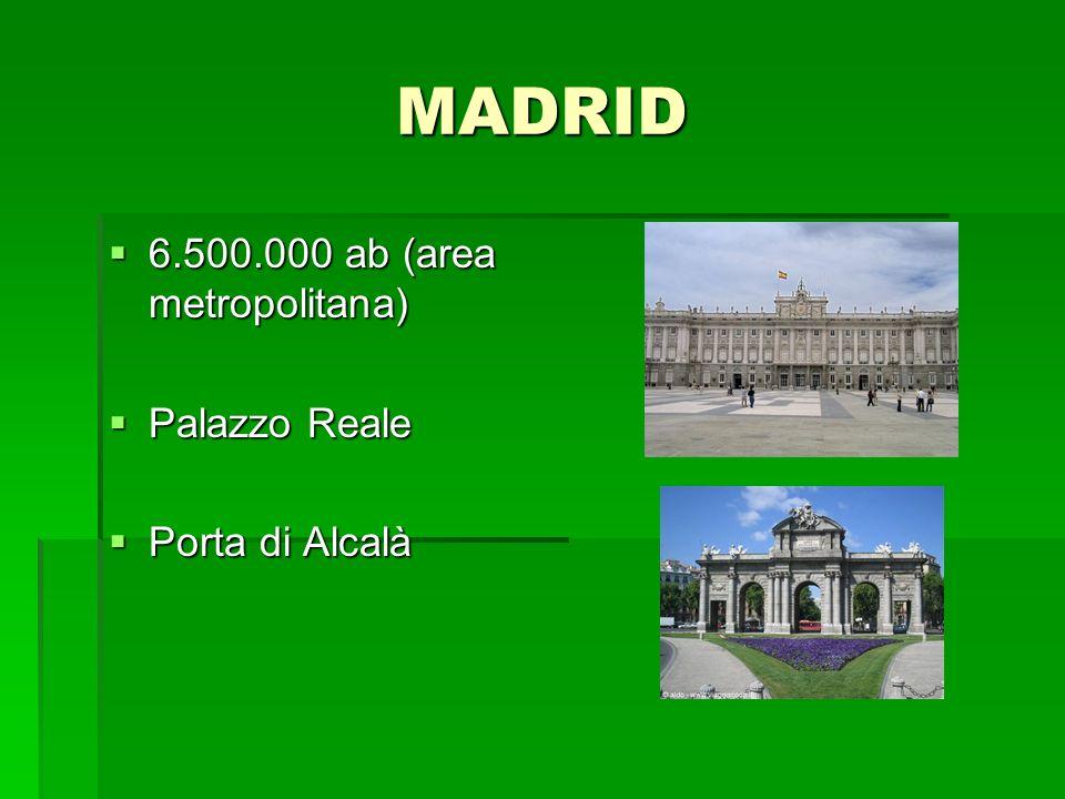 MADRID 6.500.000 ab (area metropolitana) 6.500.000 ab (area metropolitana) Palazzo Reale Palazzo Reale Porta di Alcalà Porta di Alcalà