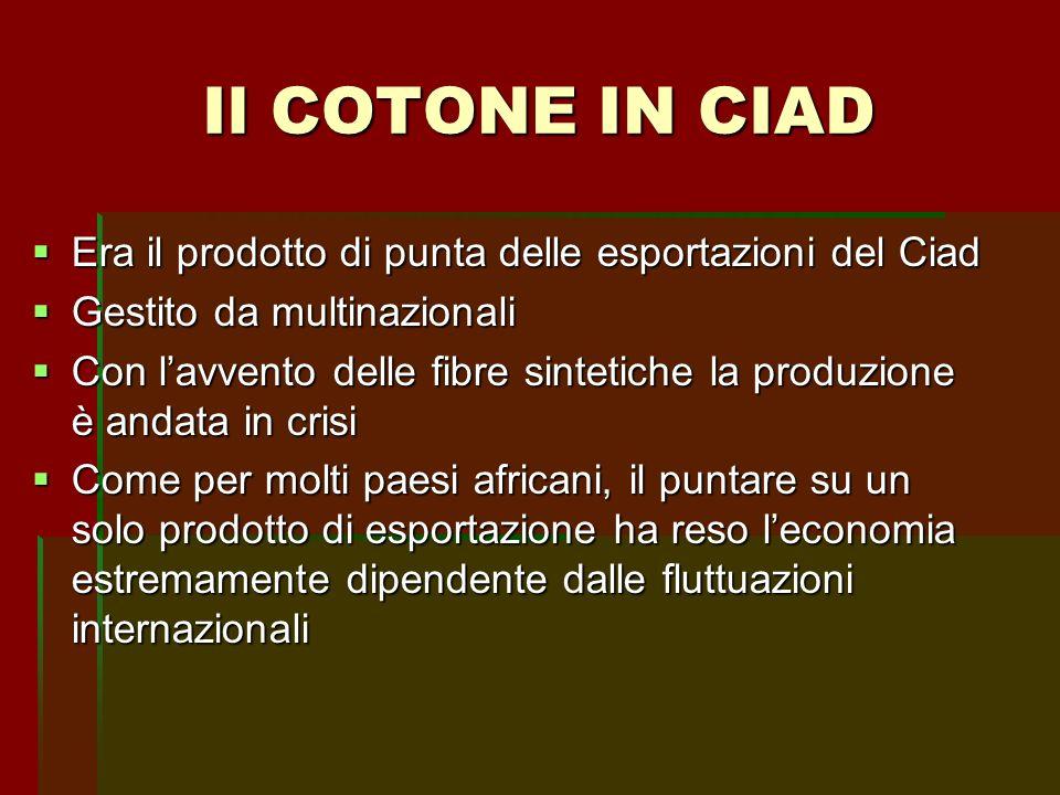Era il prodotto di punta delle esportazioni del Ciad Era il prodotto di punta delle esportazioni del Ciad Gestito da multinazionali Gestito da multina