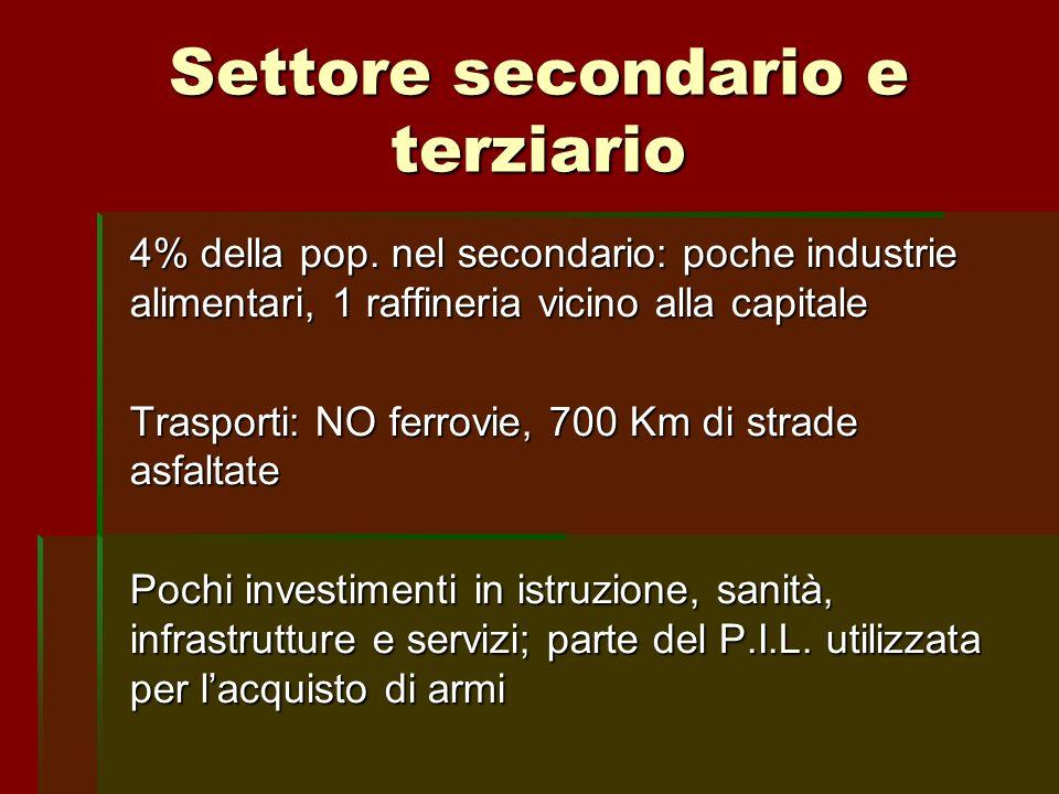 Settore secondario e terziario 4% della pop. nel secondario: poche industrie alimentari, 1 raffineria vicino alla capitale Trasporti: NO ferrovie, 700
