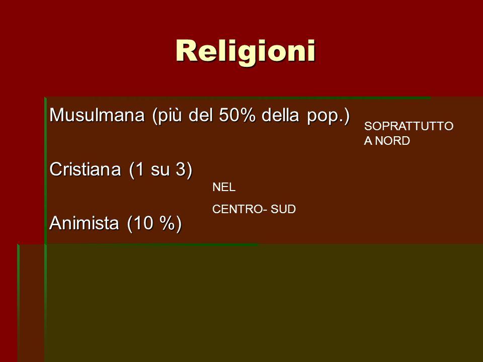 Religioni Musulmana (più del 50% della pop.) Cristiana (1 su 3) Animista (10 %) SOPRATTUTTO A NORD NEL CENTRO- SUD