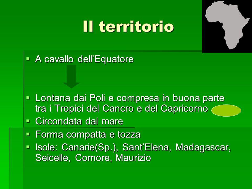 Il territorio A cavallo dellEquatore A cavallo dellEquatore Lontana dai Poli e compresa in buona parte tra i Tropici del Cancro e del Capricorno Lonta