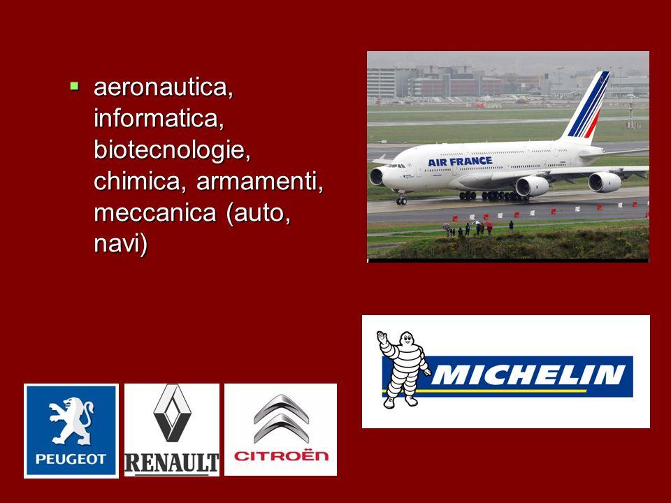 aeronautica, informatica, biotecnologie, chimica, armamenti, meccanica (auto, navi) aeronautica, informatica, biotecnologie, chimica, armamenti, mecca
