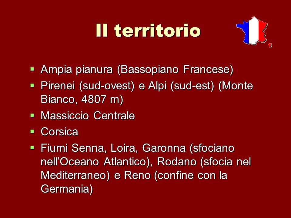Il territorio Ampia pianura (Bassopiano Francese) Ampia pianura (Bassopiano Francese) Pirenei (sud-ovest) e Alpi (sud-est) (Monte Bianco, 4807 m) Pire