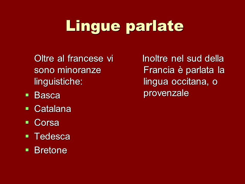 Lingue parlate Oltre al francese vi sono minoranze linguistiche: Basca Basca Catalana Catalana Corsa Corsa Tedesca Tedesca Bretone Bretone Inoltre nel