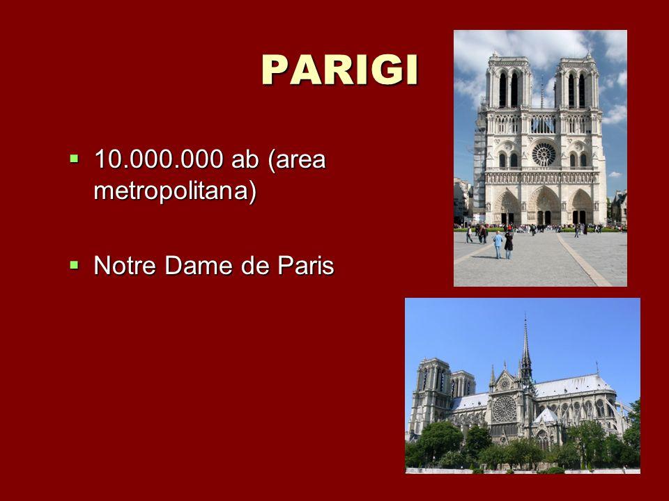 PARIGI 10.000.000 ab (area metropolitana) 10.000.000 ab (area metropolitana) Notre Dame de Paris Notre Dame de Paris