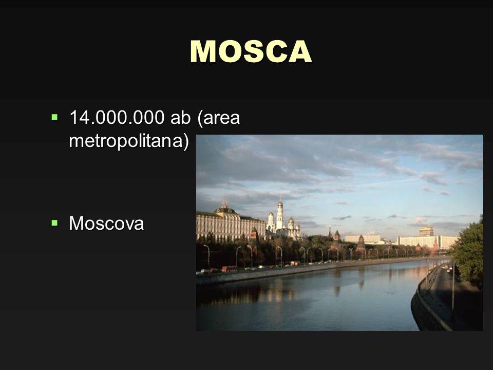 MOSCA 14.000.000 ab (area metropolitana) 14.000.000 ab (area metropolitana) Moscova Moscova
