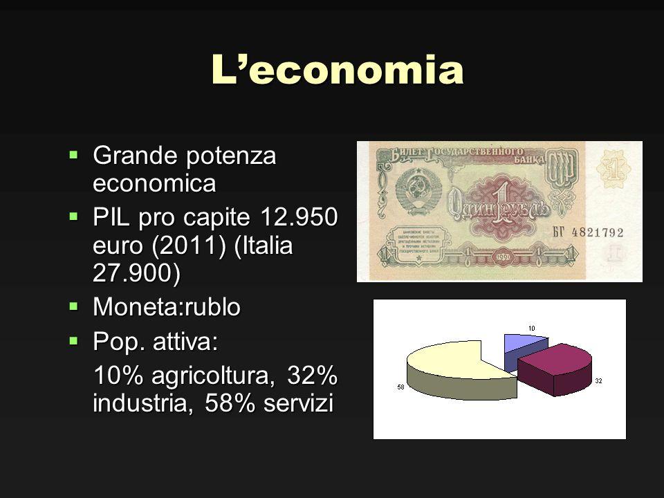 Leconomia Grande potenza economica Grande potenza economica PIL pro capite 12.950 euro (2011) (Italia 27.900) PIL pro capite 12.950 euro (2011) (Itali