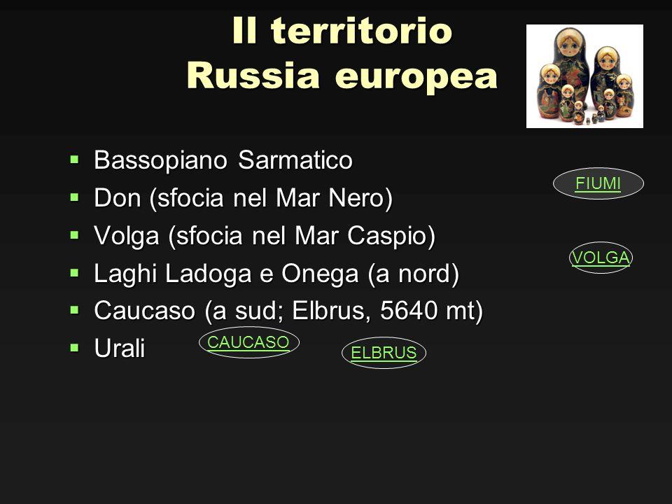 Il territorio Russia europea Bassopiano Sarmatico Bassopiano Sarmatico Don (sfocia nel Mar Nero) Don (sfocia nel Mar Nero) Volga (sfocia nel Mar Caspi