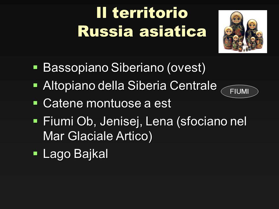 Il territorio Russia asiatica Bassopiano Siberiano (ovest) Bassopiano Siberiano (ovest) Altopiano della Siberia Centrale Altopiano della Siberia Centr