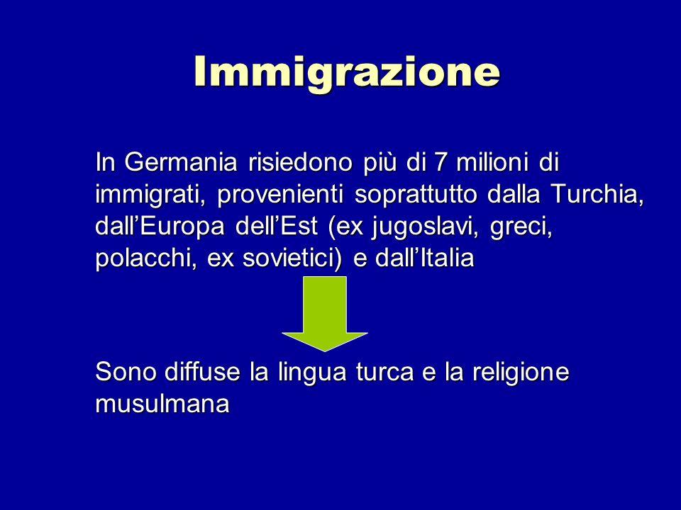 Immigrazione In Germania risiedono più di 7 milioni di immigrati, provenienti soprattutto dalla Turchia, dallEuropa dellEst (ex jugoslavi, greci, pola