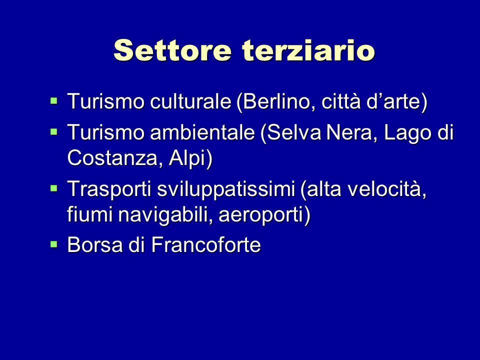 Settore terziario Turismo culturale (Berlino, città darte) Turismo culturale (Berlino, città darte) Turismo ambientale (Selva Nera, Lago di Costanza,