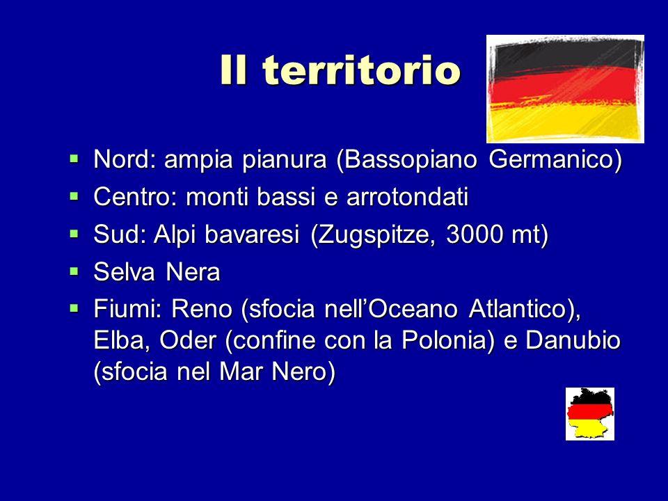 Il territorio Nord: ampia pianura (Bassopiano Germanico) Nord: ampia pianura (Bassopiano Germanico) Centro: monti bassi e arrotondati Centro: monti ba