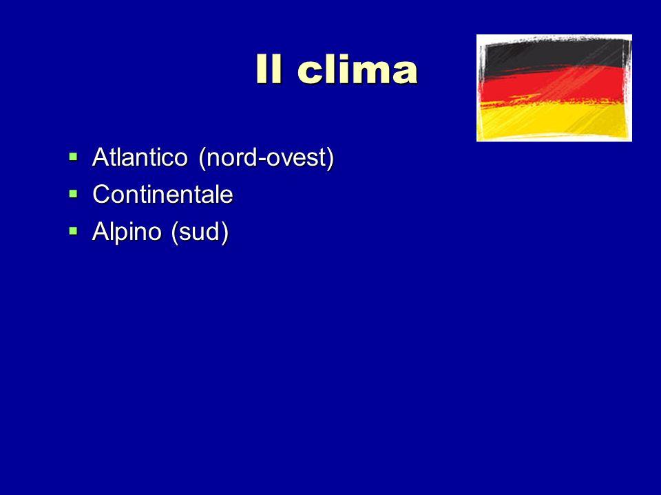 Il clima Atlantico (nord-ovest) Atlantico (nord-ovest) Continentale Continentale Alpino (sud) Alpino (sud)