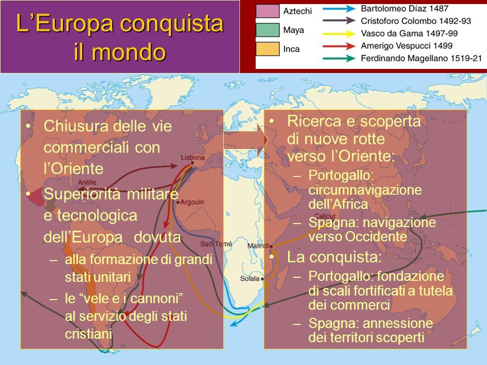 LEuropa conquista il mondo Chiusura delle vie commerciali con lOriente Superiorità militare e tecnologica dellEuropa dovuta –alla formazione di grandi