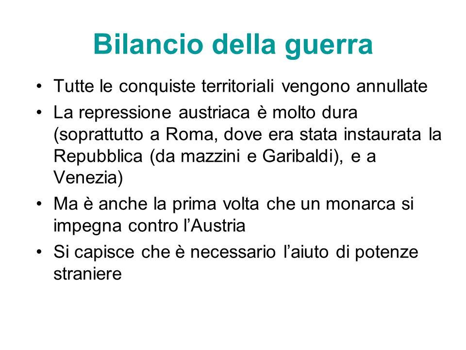 Bilancio della guerra Tutte le conquiste territoriali vengono annullate La repressione austriaca è molto dura (soprattutto a Roma, dove era stata inst