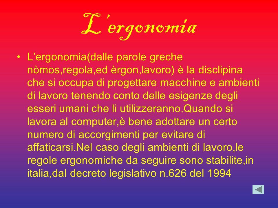 Lergonomia Lergonomia(dalle parole greche nòmos,regola,ed èrgon,lavoro) è la disclipina che si occupa di progettare macchine e ambienti di lavoro tene