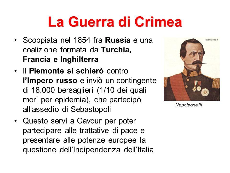 La Guerra di Crimea Scoppiata nel 1854 fra Russia e una coalizione formata da Turchia, Francia e Inghilterra Il Piemonte si schierò contro lImpero rus