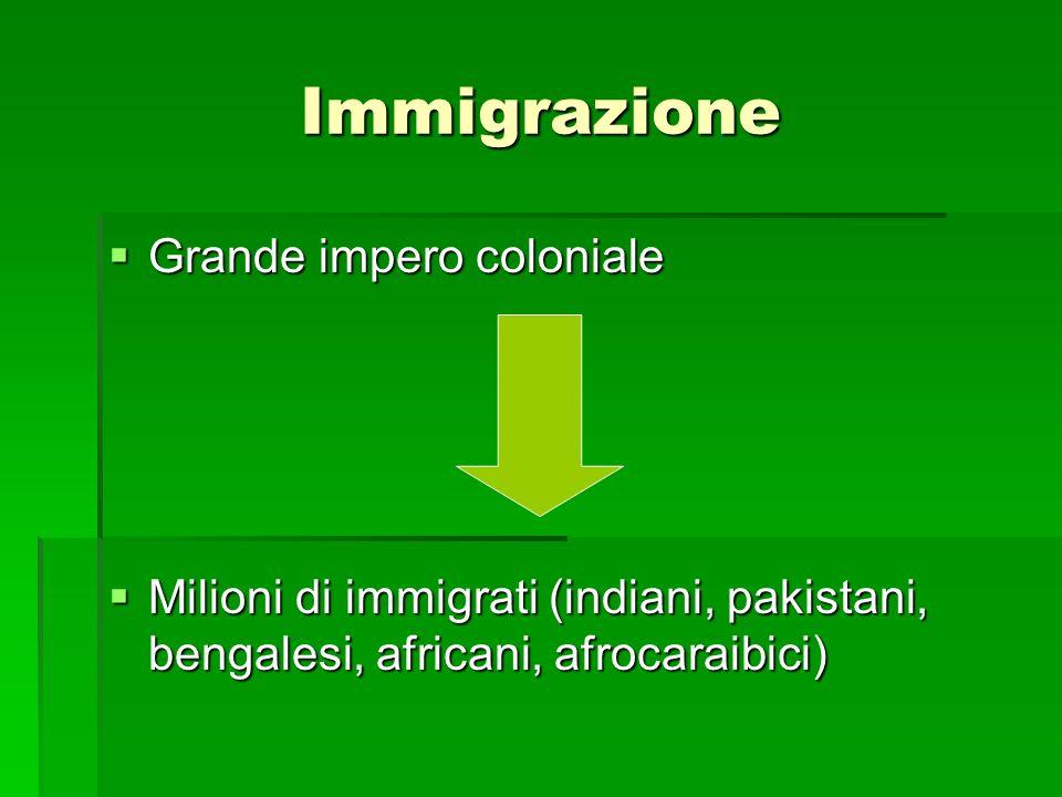 Immigrazione Grande impero coloniale Grande impero coloniale Milioni di immigrati (indiani, pakistani, bengalesi, africani, afrocaraibici) Milioni di immigrati (indiani, pakistani, bengalesi, africani, afrocaraibici)