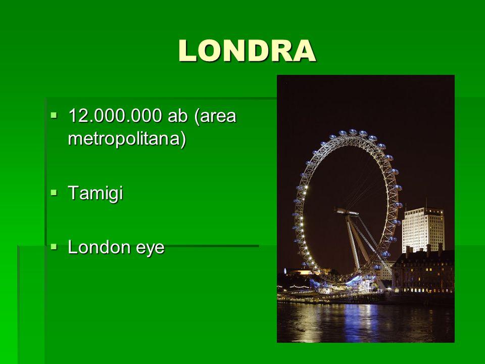 LONDRA 12.000.000 ab (area metropolitana) 12.000.000 ab (area metropolitana) Tamigi Tamigi London eye London eye