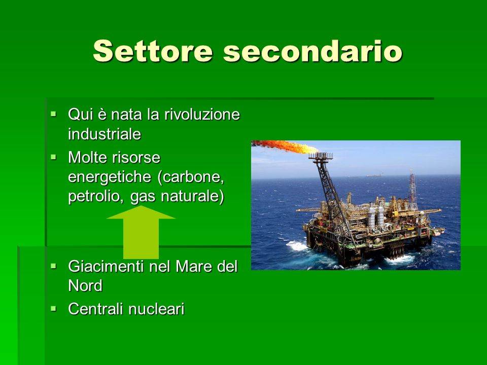 Settore secondario Qui è nata la rivoluzione industriale Qui è nata la rivoluzione industriale Molte risorse energetiche (carbone, petrolio, gas naturale) Molte risorse energetiche (carbone, petrolio, gas naturale) Giacimenti nel Mare del Nord Giacimenti nel Mare del Nord Centrali nucleari Centrali nucleari