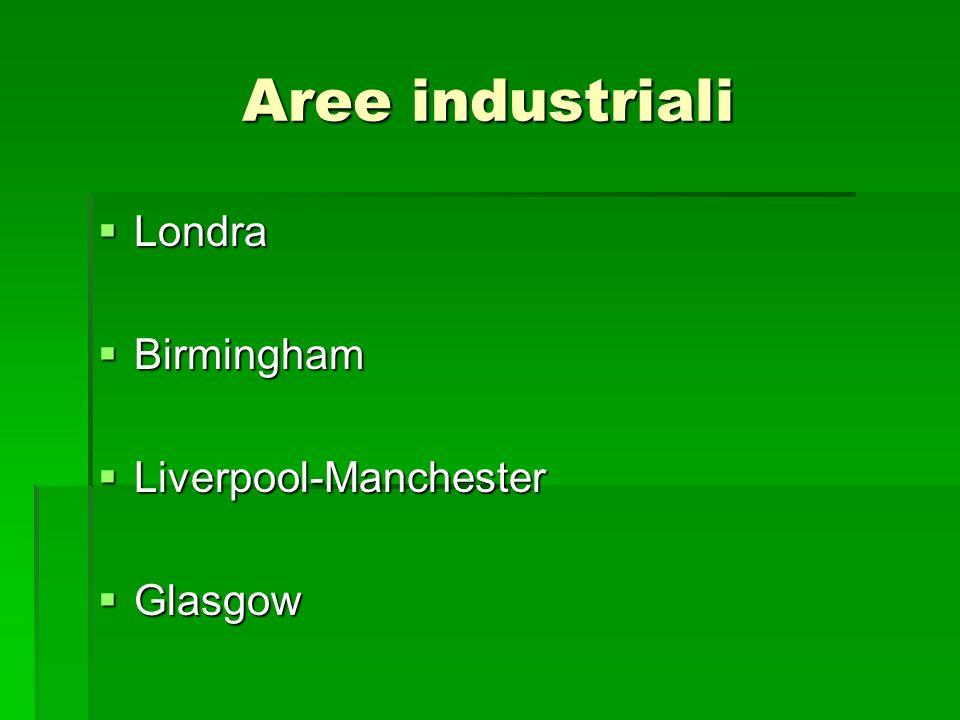 Aree industriali Londra Londra Birmingham Birmingham Liverpool-Manchester Liverpool-Manchester Glasgow Glasgow