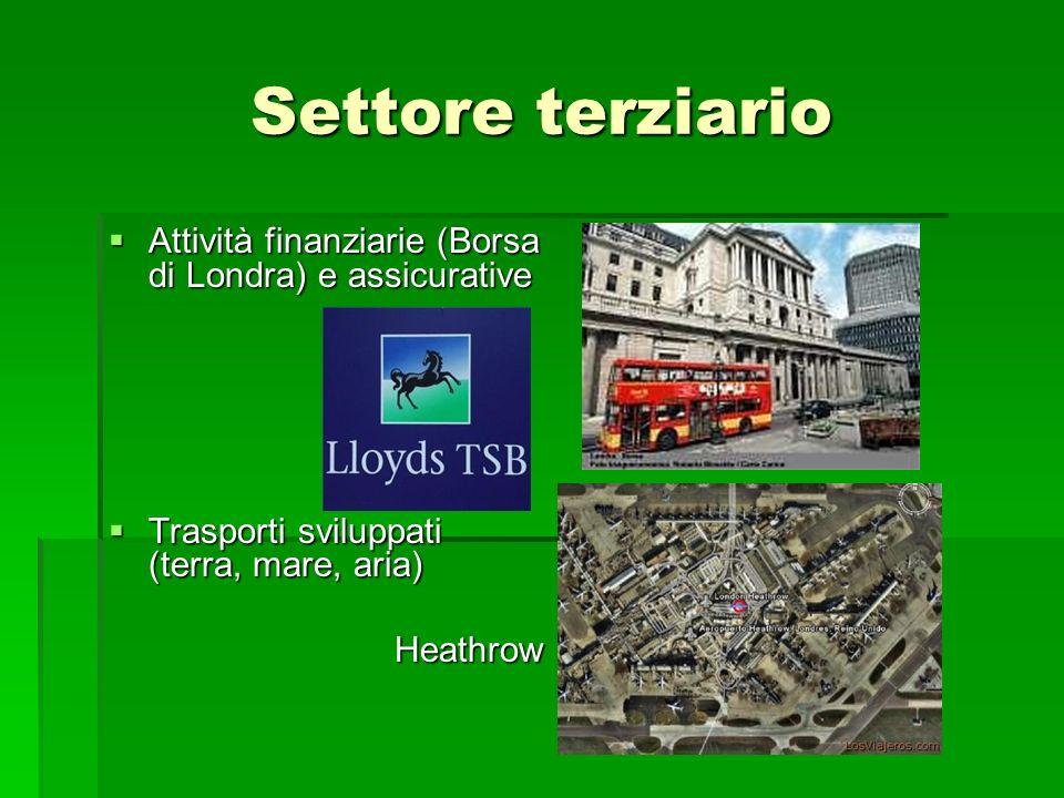 Settore terziario Attività finanziarie (Borsa di Londra) e assicurative Attività finanziarie (Borsa di Londra) e assicurative Trasporti sviluppati (terra, mare, aria) Trasporti sviluppati (terra, mare, aria)Heathrow