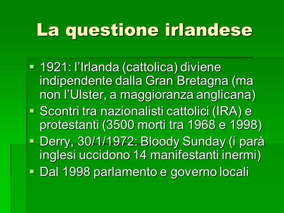 La questione irlandese 1921: lIrlanda (cattolica) diviene indipendente dalla Gran Bretagna (ma non lUlster, a maggioranza anglicana) 1921: lIrlanda (cattolica) diviene indipendente dalla Gran Bretagna (ma non lUlster, a maggioranza anglicana) Scontri tra nazionalisti cattolici (IRA) e protestanti (3500 morti tra 1968 e 1998) Scontri tra nazionalisti cattolici (IRA) e protestanti (3500 morti tra 1968 e 1998) Derry, 30/1/1972: Bloody Sunday (i parà inglesi uccidono 14 manifestanti inermi) Derry, 30/1/1972: Bloody Sunday (i parà inglesi uccidono 14 manifestanti inermi) Dal 1998 parlamento e governo locali Dal 1998 parlamento e governo locali